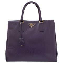 Vintage Authentic Prada Purple Saffiano Vernice Tote Bag Italy w LARGE