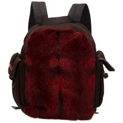 Vintage Authentic Prada Red Dark Fur Backpack Italy MEDIUM