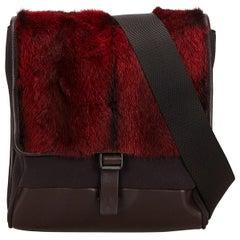 Vintage Authentic Prada Red Dark Fur Crossbody Bag Italy MEDIUM