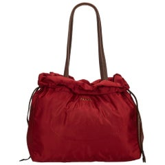 Vintage Authentic Prada Red Drawstring Shopper Tote Bag Italy LARGE