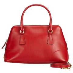 Vintage Authentic Prada Red Leather Dome Satchel ITALY SMALL