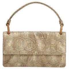 Vintage Authentic Prada White Dark Leather Printed Handbag Italy SMALL