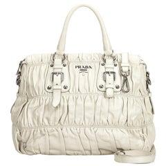 Vintage Authentic Prada White Ivory Leather Gathered Satchel Italy MEDIUM