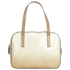Vintage Authentic Prada White Ivory Leather Handbag Italy SMALL