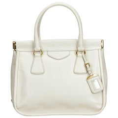 Vintage Authentic Prada White Ivory Leather Handbag Italy w/ Dust Bag MEDIUM