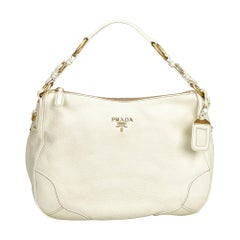 Vintage Authentic Prada White Ivory Leather Shoulder Bag Italy MEDIUM