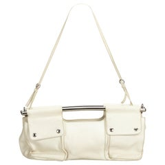 Vintage Authentic Prada White Leather Bar Shoulder Bag Italy w Dust Bag LARGE