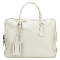 Vintage Authentic Prada White Leather Saffiano Business Bag ITALY w LARGE