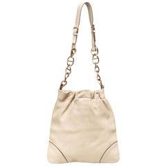 Vintage Authentic Prada White Leather Shoulder Bag Italy w/ Dust Bag MEDIUM
