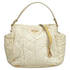 Vintage Authentic Prada White Light Nylon Fabric Quilted Satchel Italy LARGE