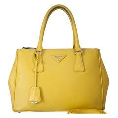 Vintage Authentic Prada Yellow Leather Saffiano Galleria Satchel Italy w MEDIUM