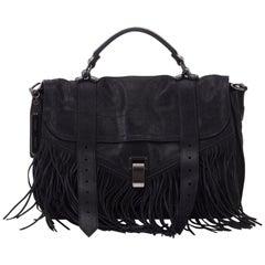 Vintage Authentic Proenza Schouler Black Leather Fringe PS1 ITALY MEDIUM
