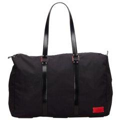 Vintage Authentic Valentino Black Nylon Fabric Boston Bag ITALY LARGE