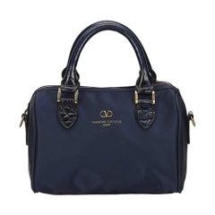 Vintage Authentic Valentino Blue Navy Nylon Fabric Handbag Italy SMALL
