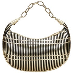 Vintage Authentic Valentino Gold Leather Striped Chain Baguette Italy SMALL