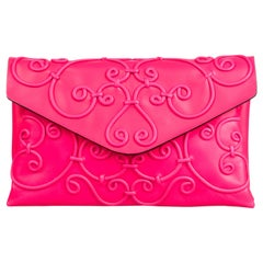 Vintage Authentic Valentino Pink Leather Intricate Clutch ITALY w SMALL