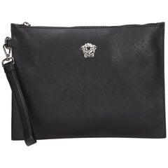 Vintage Authentic Versace Black Medusa Clutch Bag Italy w Dust Bag SMALL