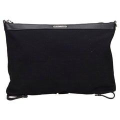 Vintage Authentic YSL Black Canvas Fabric ID Convertible Clutch Bag Italy SMALL