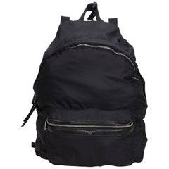 Vintage Authentic YSL Black Foldable Backpack France w Dust Bag MEDIUM