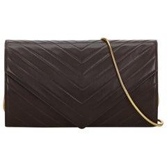 Vintage Authentic YSL Black Leather Chevron Chain Crossbody Bag France MEDIUM