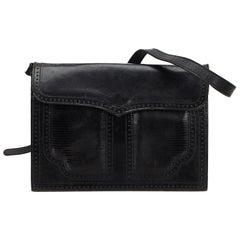 Vintage Authentic YSL Black Leather Shoulder Bag France MEDIUM