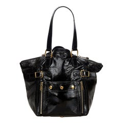 Vintage Authentic YSL Black Patent Leather Downtown Tote Bag France LARGE