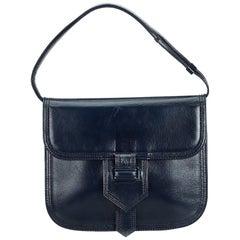 Vintage Authentic YSL Blue Navy Leather Handbag France w/ Dust Bag MEDIUM