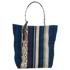 Vintage Authentic YSL Blue Navy with Multi Canvas Fabric Tote Bag France LARGE