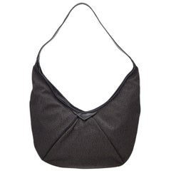 Vintage Authentic YSL Brown Canvas Fabric Hobo Bag France LARGE