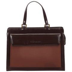Vintage Authentic YSL Brown Dark Brown Leather Tote Bag FRANCE LARGE