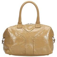 Vintage Authentic YSL Brown Easy Boston Bag France w Dust Bag MEDIUM