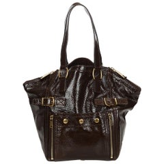 Vintage Authentic YSL Brown Patent Leather Downtown Tote Bag ITALY LARGE