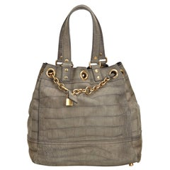 Vintage Authentic YSL Embossed Overseas Faubourg Tote France w Dust Bag LARGE