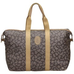Vintage Authentic YSL Gray Printed Duffle Bag France w Pouch Pouch LARGE