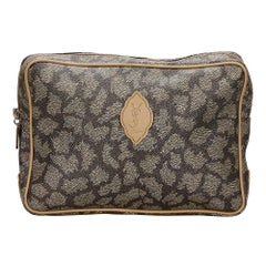 Vintage Authentic YSL Gray PVC Plastic Printed Clutch Bag FRANCE SMALL