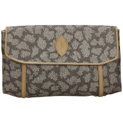 Vintage Authentic YSL Gray PVC Plastic Printed Flap Clutch Bag France SMALL
