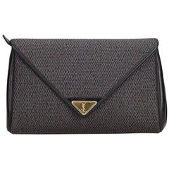 Vintage Authentic YSL Gray PVC Plastic Woven Flap Clutch Bag France SMALL