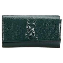 Vintage Authentic YSL Green Belle du Jour Clutch France w Dust Bag SMALL