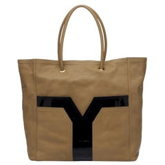 Vintage Authentic YSL Leather Lucky Chyc Tote w Dust Bag Authenticity Card
