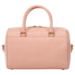 Vintage Authentic YSL Pink Leather Classic Baby Duffle Bag France SMALL