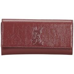 Vintage Authentic YSL Red Belle du Jour Clutch France w Dust Bag SMALL
