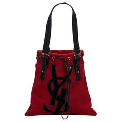Vintage Authentic YSL Red Canvas Fabric Kahala Tote Bag France w Dust Bag LARGE