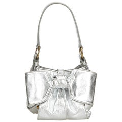 Vintage Authentic YSL Silver Leather Metallic Sac Bow Handbag France SMALL