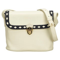 Vintage Authentic YSL White Ivory Leather Crossbody Bag France SMALL