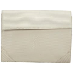 Vintage Authentic YSL White Leather Clutch Bag France SMALL