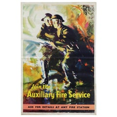 Vintage Auxiliary Fire Service Poster, 20th Century