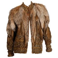 Vintage Avant Garde Coyote Fur + Leather Knit Jacket