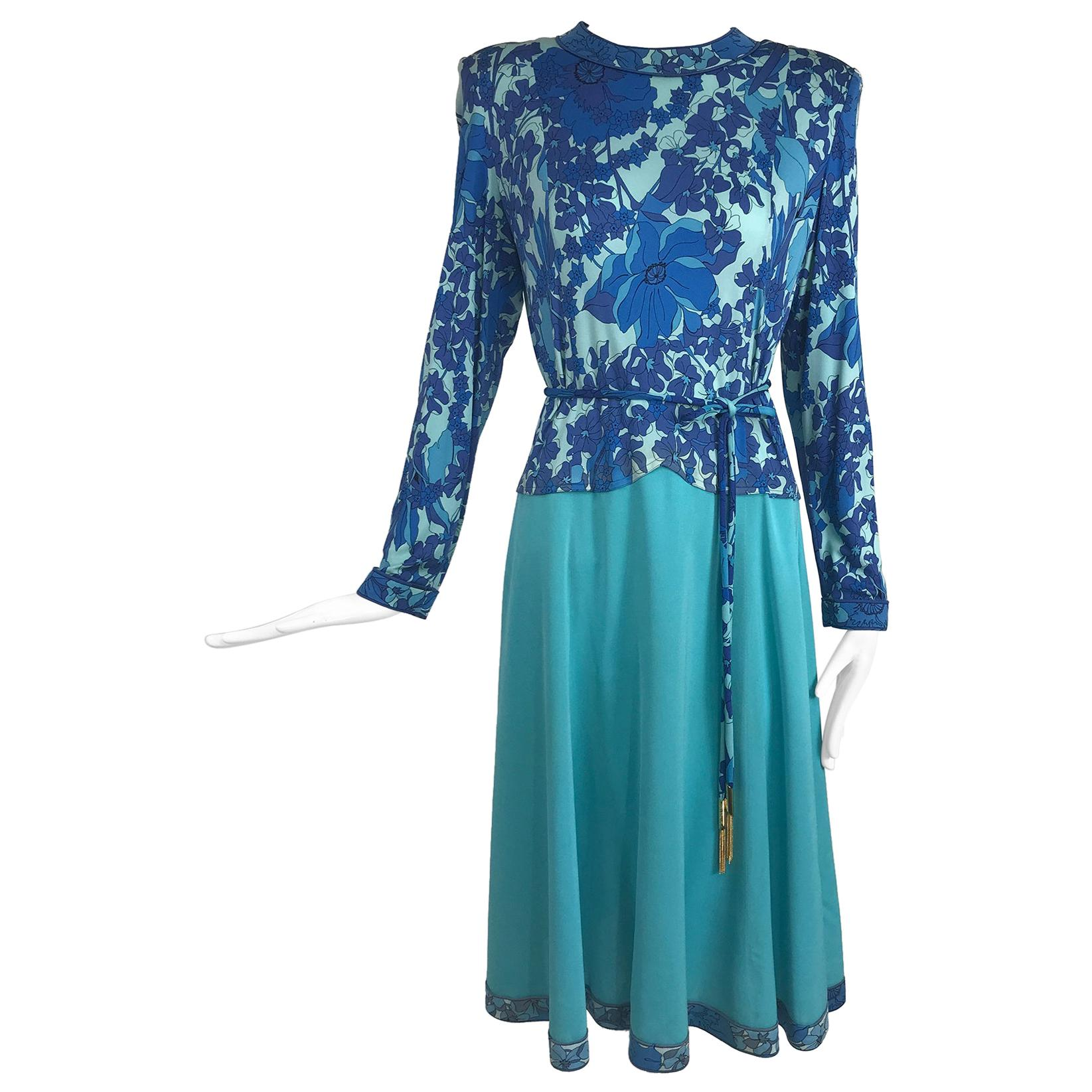 Vintage Averado Bessi Silk Print Dress and Belt