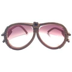 Vintage Aviator Bamboo Wood Oversized Sunglasses 1980's