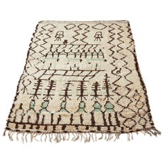 Vintage Azilal Wool Rug with Black and Green Pattern, Morocco, Late 19th Century